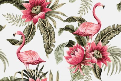 Carta da parati Tropical vintage pink flamingo, pink hibiscus, palm leaves floral seamless pattern grey background. Exotic jungle wallpaper.
