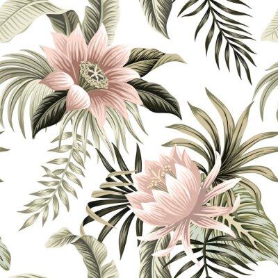 Carta da parati Tropical vintage pink lotus, palm leaves, banana leaves floral seamless pattern white background. Exotic jungle wallpaper.