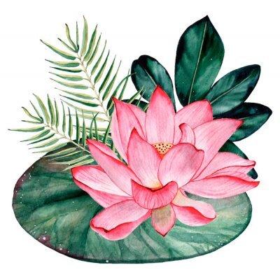Carta da parati Tropical watercolor bouquet and composition