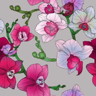 Carta da parati tropico seamless floreale con disegno a mano fiori di orchidea