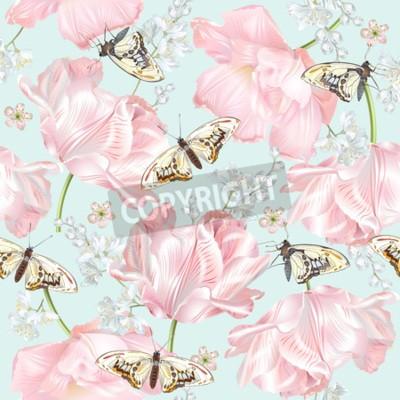 Carta da parati Tulip butterfly pattern