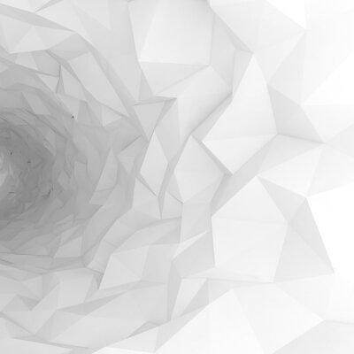 Carta da parati tunnel 3d con la superficie poligonale caotico