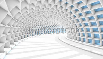 Carta da parati Tunnel astratto bianco con finestre rettangolari blu. 3d rendering illustrazione