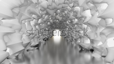 Carta da parati Tunnel bianco e luce. Illustrazione 3d, rendering 3d.