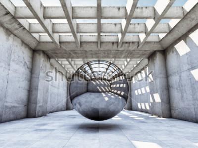 Carta da parati Tunnel di cemento di concetto di arte con palla di metallo. Illustrazione 3D