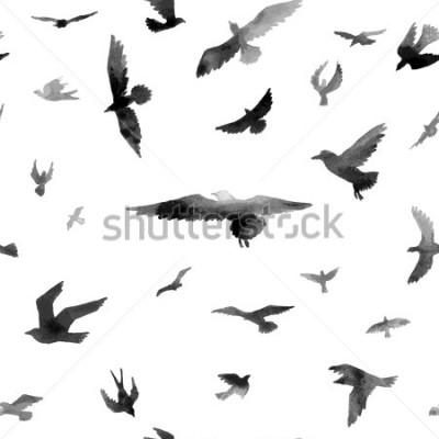 Carta da parati Uccelli. Acquerello modello senza soluzione di continuità. Griglia di illustrazione