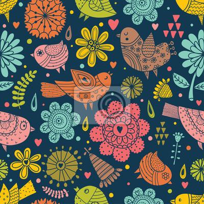 Uccelli Colorati E Fiori Su Sfondo Blu Carino Vector Seamless