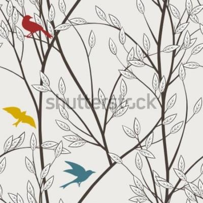 Carta da parati uccelli e rami colorati