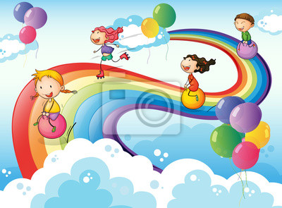 Un Gruppo Di Bambini Che Giocano Il Cielo Con Un Arcobaleno Carta Da