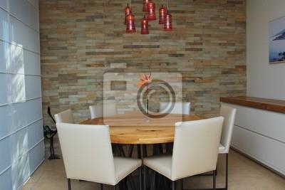 Carta da parati: Un moderno, stilizzato sala da pranzo con tavolo rotondo  da pranzo