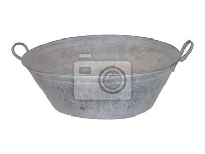 Un tin vasca da bagno antico metallo zincato. carta da parati ...