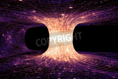 Carta da parati Un wormhole, o di Einstein-Rosen Bridge, è una scorciatoia ipotetica che collega due punti separati nello spazio-tempo.