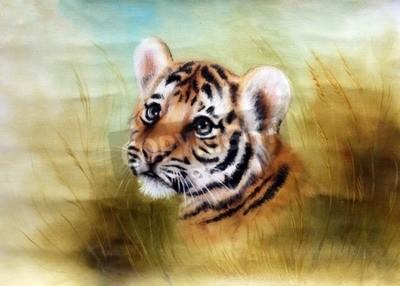 Carta da parati Una bella aerografo pittura di una testa di tigre adorabile bambino guardando fuori da una verde e tranquilla di erba