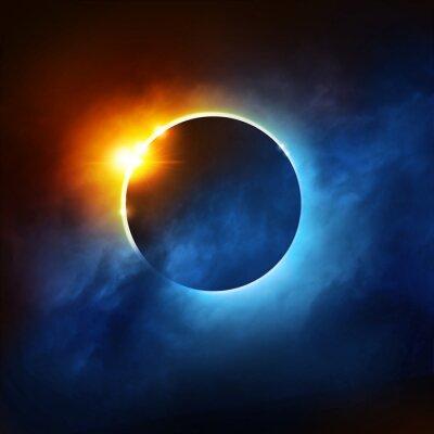 Carta da parati Una eclisse totale di Sole Drammatica illustrazione eclissi solare.