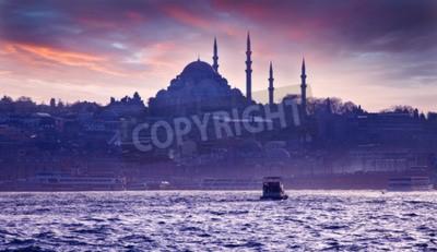Carta da parati Una gita in barca sul Bosforo al tramonto. Istanbul al tramonto. Sera Istanbul. viaggio turistico in Turchia.