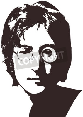 Carta da parati Una illustrazione vettoriale di un ritratto del cantante John Lennon su uno sfondo bianco. Formato A4, Eps 10 su strati