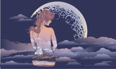 Carta da parati Una ragazza romantica si siede sullo sfondo della luna. Ragazza di body art, corpo dipinto con paesaggi. Ragazza romantica sullo sfondo della luna e il design del tatuaggio e t-shirt cielo stellare. d