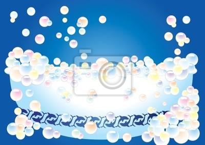 Una Vasca Da Bagno Su Sfondo Blu Con Bolle Illustrazione