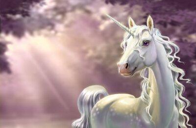 Carta da parati Unicorn in the forest, close-up