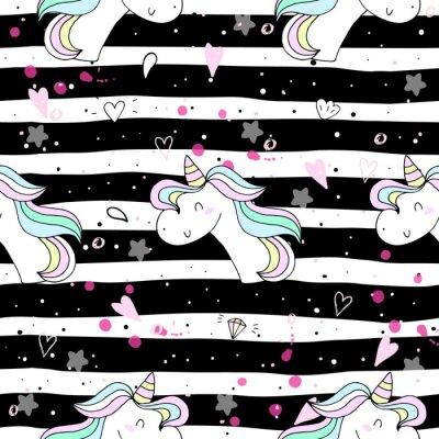 Carta da parati unicorno carino su un backgroun rosa. modello vettoriale