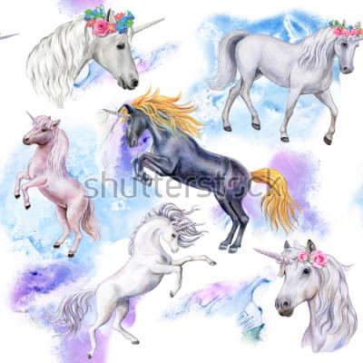 Carta da parati Unicorns. Modello senza cuciture con i cavalli. Illustrazione di animali. Acquerello. Modello. AVVICINAMENTO