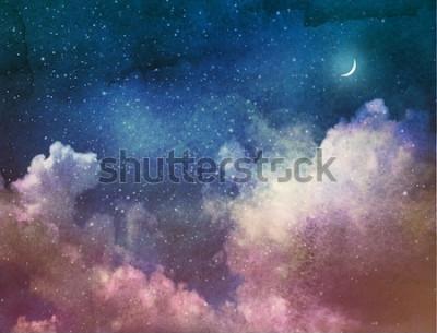 Carta da parati Universo pieno di stelle e luna. Acquerello