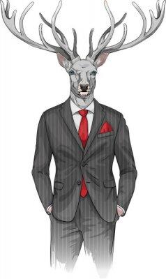 Carta da parati uomo con la testa di cervo vestito con un abito