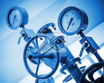 Carta da parati Valvola industriale e manometri sul moderno sistema di condotte