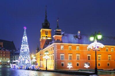 Carta da parati Varsavia, piazza Castello durante le vacanze di Natale