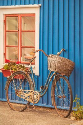 Carta da parati Vecchia ruggine bicicletta signora di fronte a una casa svedese