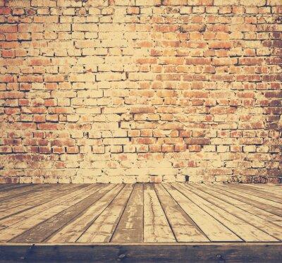 Carta da parati vecchia stanza con muro di mattoni, retro filtrato, stile instagram
