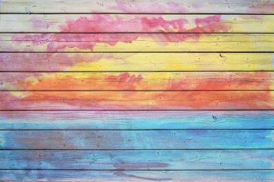 Carta da parati Vecchia tavola di legno nei colori dell'arcobaleno
