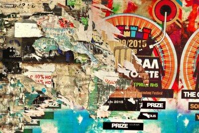 Carta da parati Vecchio cartellone con carta strappata Poster e texture di sfondo