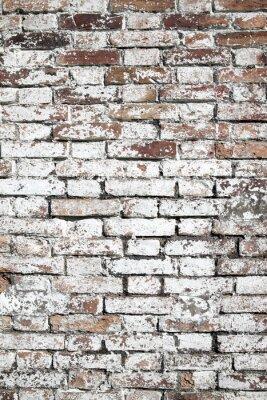 Carta da parati Vecchio grande sfondo rosso muro di mattoni in difficoltà con vernice bianca