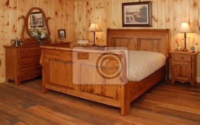 Vecchio insieme di camera da letto di legno di pino carta da parati ...