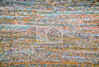 Vecchio mosaico arancio e blu sfondo di piastrelle carta da parati