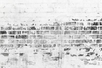 Carta da parati Vecchio muro di mattoni con danneggiata strato di vernice bianca