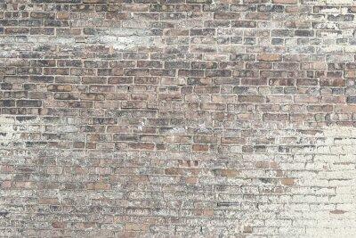 Carta da parati Vecchio muro di mattoni rossi con vernice bianca texture di sfondo
