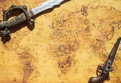Carta da parati Vecchio programma del tesoro con la spada e pistola moschetto.