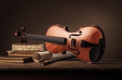 Carta da parati Vecchio violino vita ancora con i libri