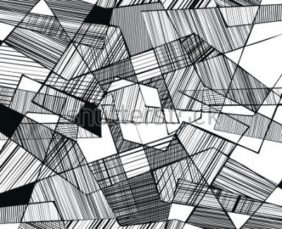 Carta da parati vector abstract geometric shapes with linear fill - 3