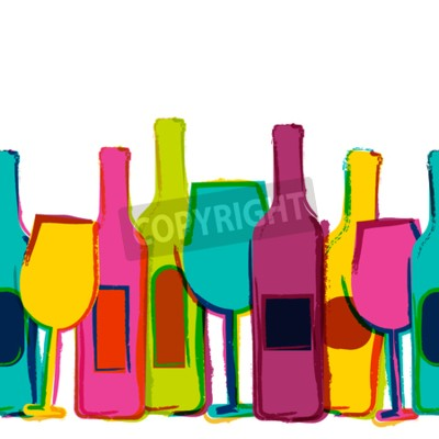 Carta da parati Vector acquerello sfondo trasparente, bottiglie di vino e bicchieri colorati. Concetto per il menu bar, partito, bevande alcoliche, vacanze, dei vini, flyer, brochure, poster, banner. design alla moda