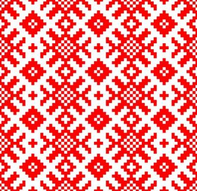 Carta da parati Vector background. Seamless pattern ricamo slava. Yarilo motivo - Foto Stock