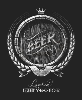 Carta da parati Vector barile di birra disegnato sulla lavagna. RGB. Un colore globale. Sfumature liberi. Ogni elementi sono raggruppati separatamente