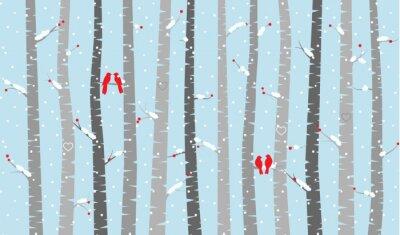 Carta da parati Vector betulla o di Aspen alberi con la neve e Love Birds