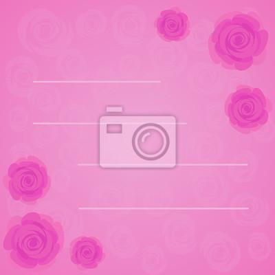 Vector Cornice Di Belle Rose Rosa Su Sfondo Rosa Sfumato Con Carta