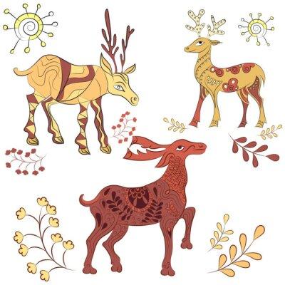 Carta da parati Vector decorati cervi con gli elementi della natura. illustrazione disegnata a mano. Scandinavo, stile indiano. elementi dell'ornamento
