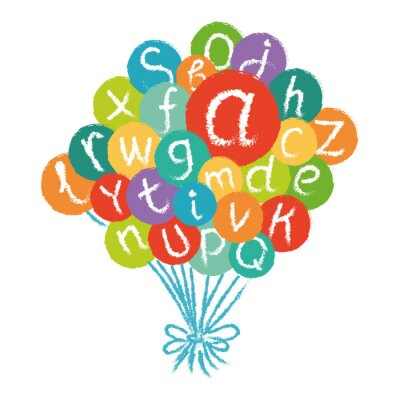 Carta da parati Vector divertente alfabeto inglese. Disegno a mano gesso, come lettere in cerchi colorati.
