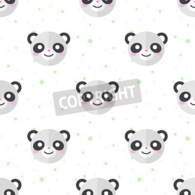 Carta da parati Vector divertenti panda testa dei cartoni animati piatto senza motivo. Panda sfondo.