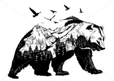 Carta da parati Vector Double exposure, bear for your design, wildlife concept